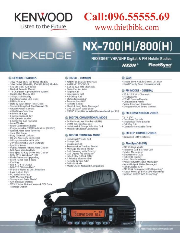 Bộ đàm cố định Kenwood NX-700 lắp đặt trên ô tô