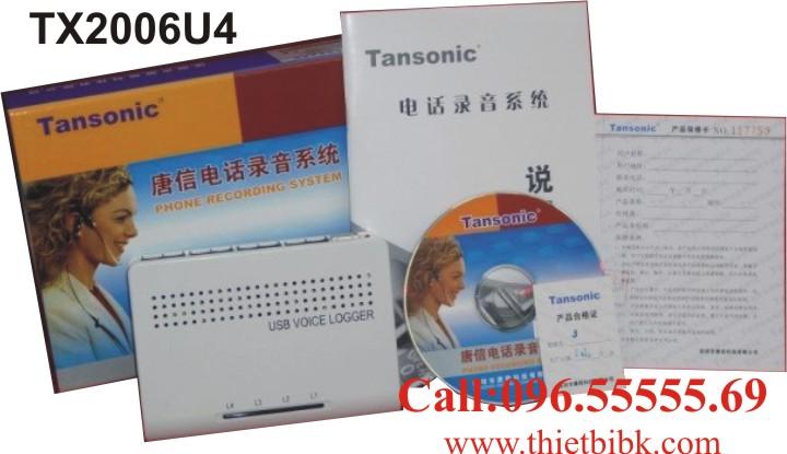 Box ghi âm điện thoại 4 line Tansonic TX2006U4 USB dùng cho doanh nghiệp