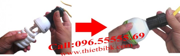Đèn cảm ứng hồng ngoại Kawa SS71 3W lắp đặt thay thế đèn thông thường với đui E27