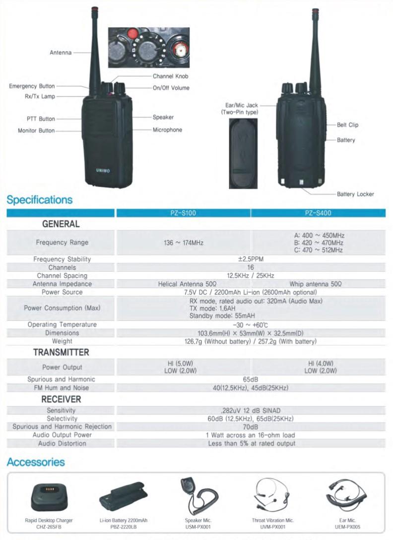 Bộ đàm chống nước Unimo PZ-S100
