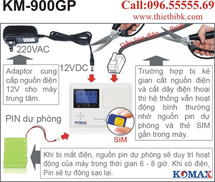Thiết bị báo động dùng sim KOMAX KM-900GP có pin dự phòng chống mất điện