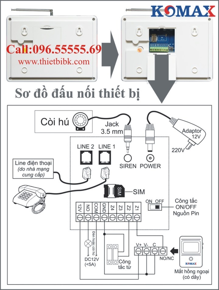 Thiết bị báo động dùng sim KOMAX KM-900GP sơ đồ đấu nối