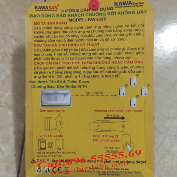 Chuông báo khách cảm ứng hồng ngoại Kawa I328 lắp đặt đơn giản
