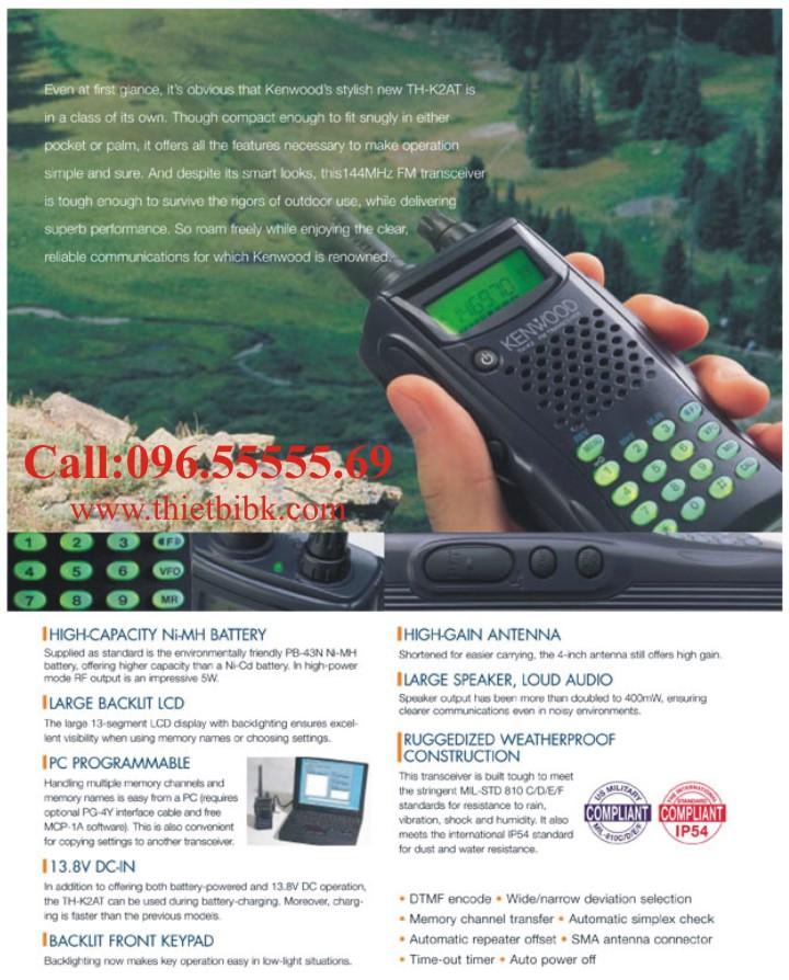 Bộ đàm Kenwood TH-K2AT VHF hỗ trợ nhiều tính năng