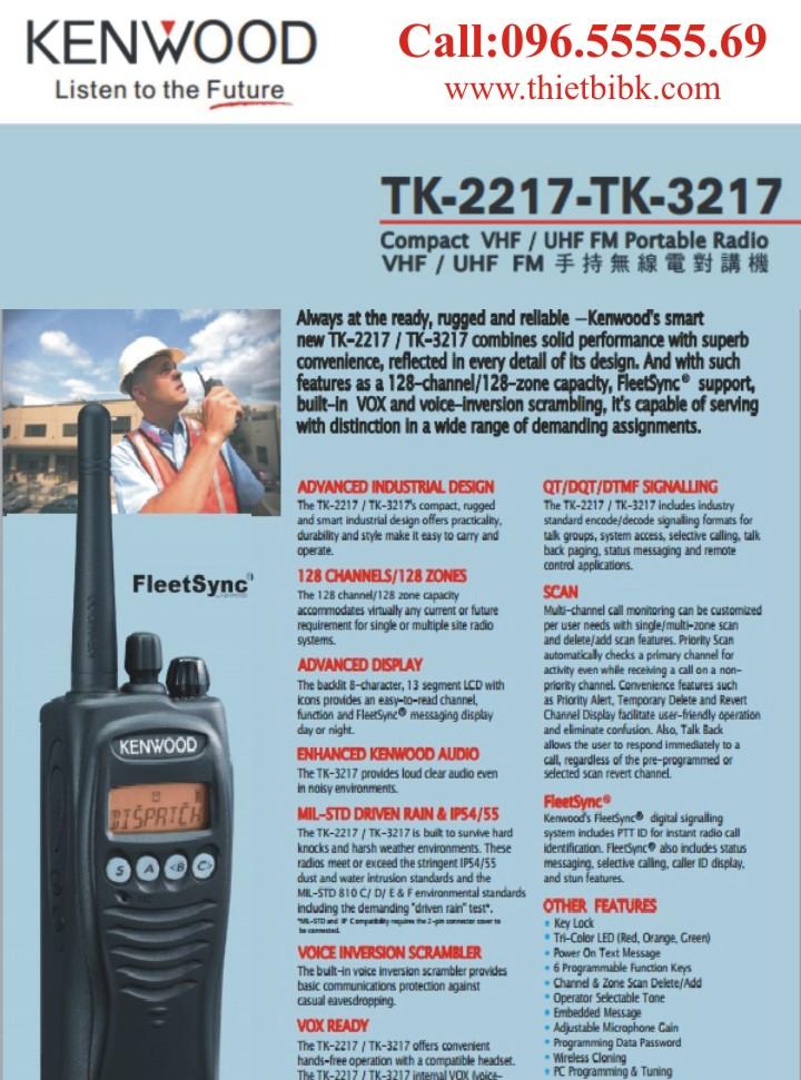 Bộ đàm Kenwood TK-3217 UHF hỗ trợ nhiều tính năng