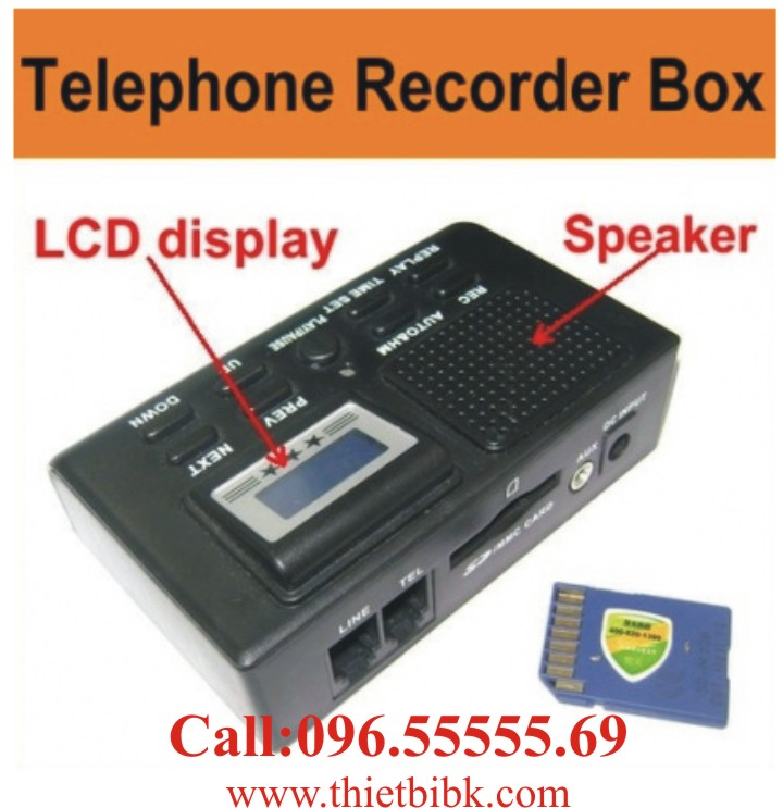 Box ghi âm điện thoại dùng thẻ nhớ Zibosoft TR70CX dùng cho công ty, cửa hàng