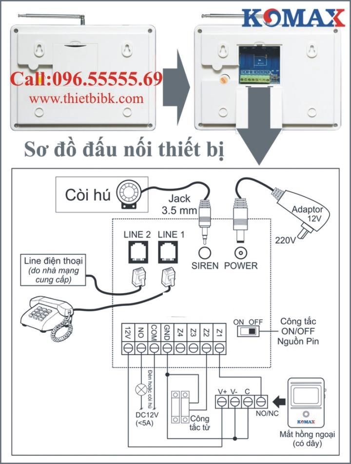 Thiết bị báo động không dây KOMAX KM-806P Sơ đồ đấu nối