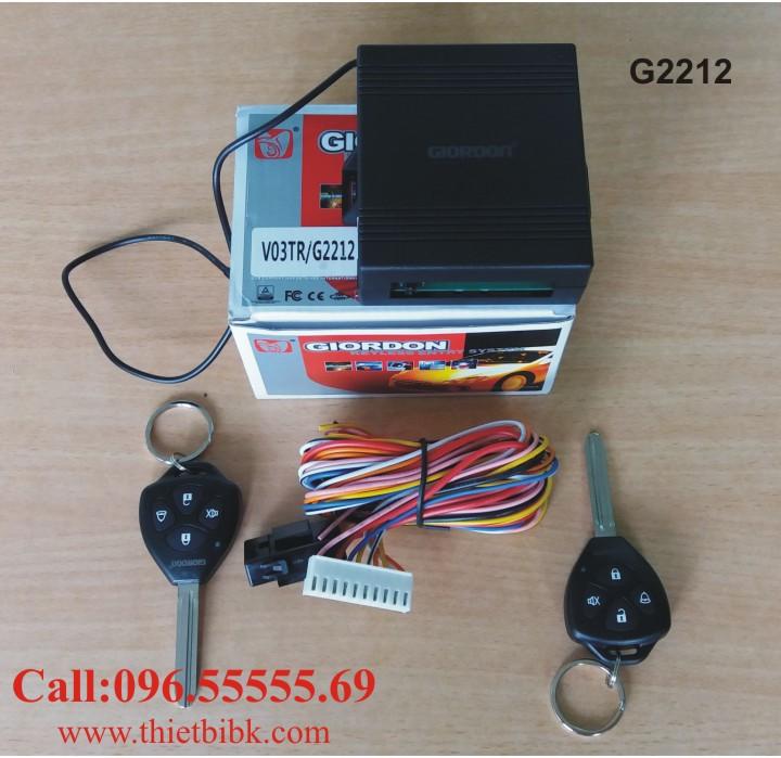 Bộ điều khiển khóa cửa ô tô Giordon 2212 với 2 Remote có phôi chìa thẳng kiểu Toyota