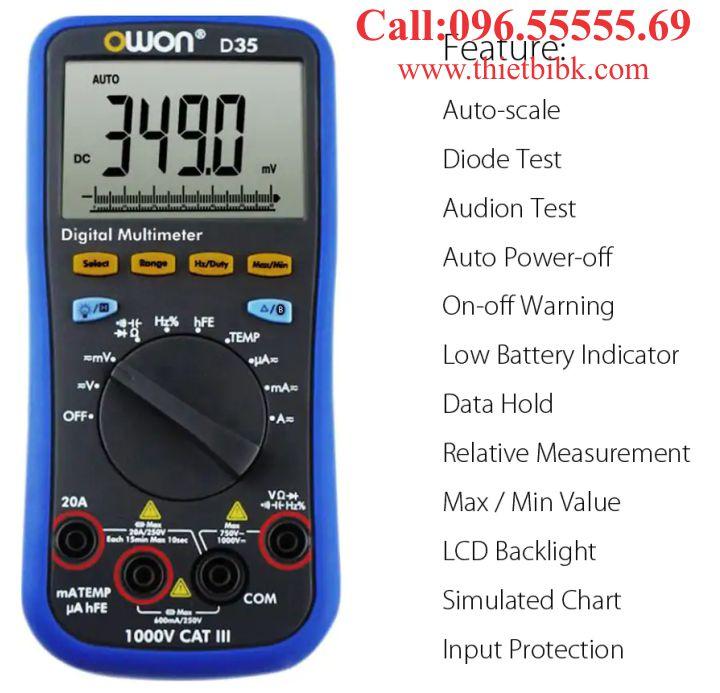Đồng hồ vạn năng hiển thị số Owon D35 1000V 20A dùng cho thợ sửa chữa điện tử
