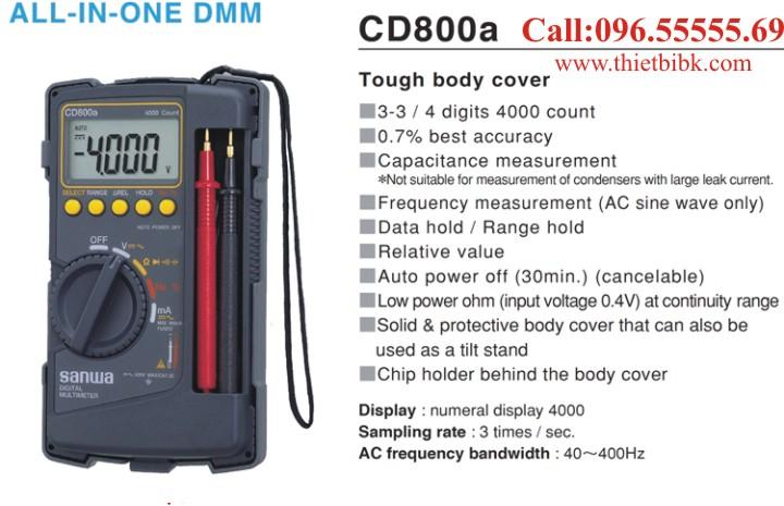 Đồng hồ vạn năng hiển thị số Sanwa CD800A dùng cho thợ sửa chữa điện tử