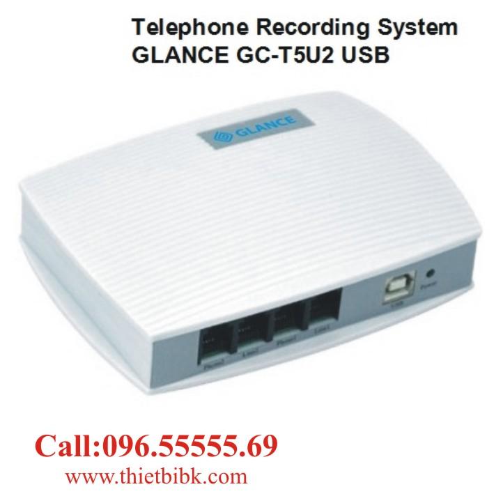 Máy ghi âm điện thoại 2 line GLANCE GCT5U2 USB dùng cho cửa hàng và các doanh nghiệp