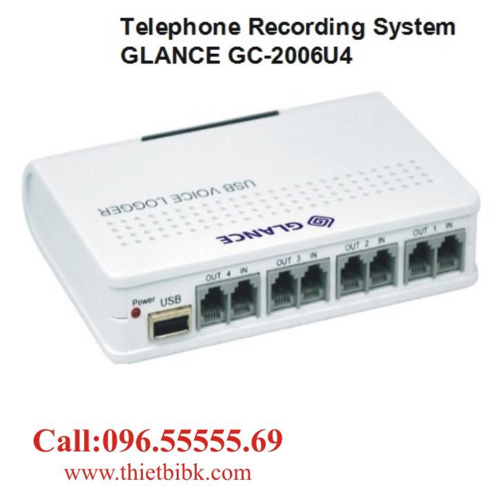 Máy ghi âm điện thoại 4 line GLANCE GC2006U4 USB cho nhà hàng và doanh nghiệp