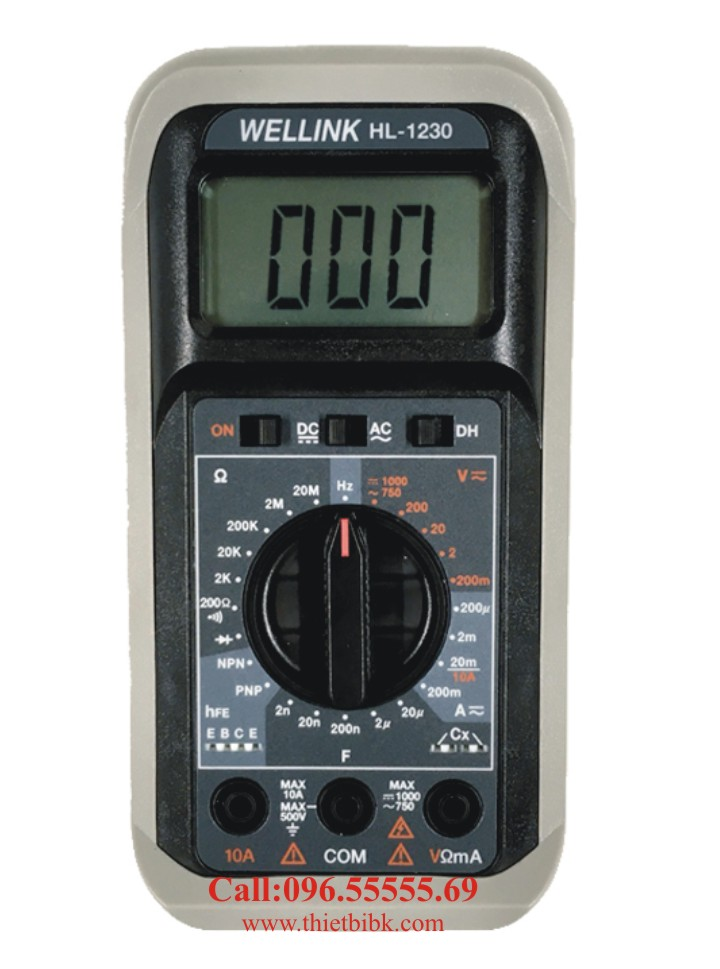 Đồng hồ vạn năng hiển thị số Wellink HL-1230 dùng cho thợ sửa chữa điện tử