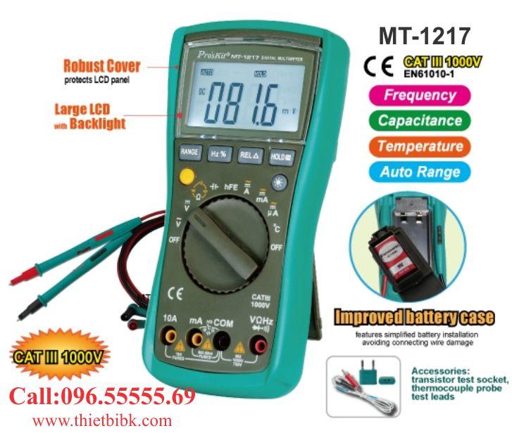 Đồng hồ vạn năng hiển thị số Pro'kit MT-1217 dành cho thợ sửa chữa điện tử