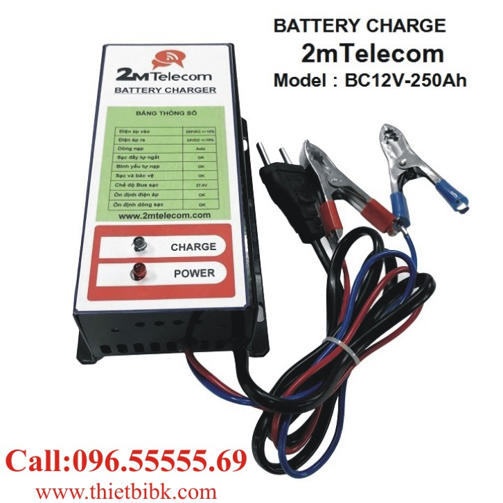 Bộ nạp ắc quy tự động 2mTelecom BC12V-250Ah dùng sạc ắc quy ô tô, xe máy