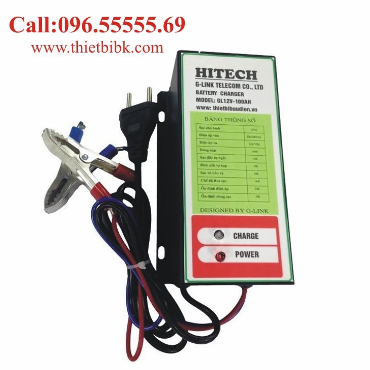 Bộ Sạc ắc quy tự động HITECH GL12V-100Ah dùng sạc ắc quy ô tô xe máy