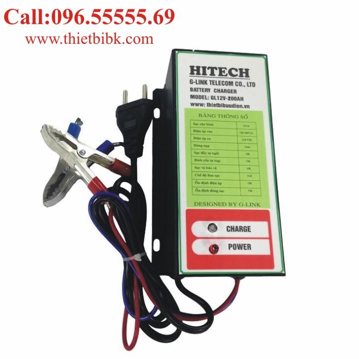 Bộ Sạc ắc quy tự động HITECH GL12V-200Ah dùng sạc ắc quy ô tô xe máy