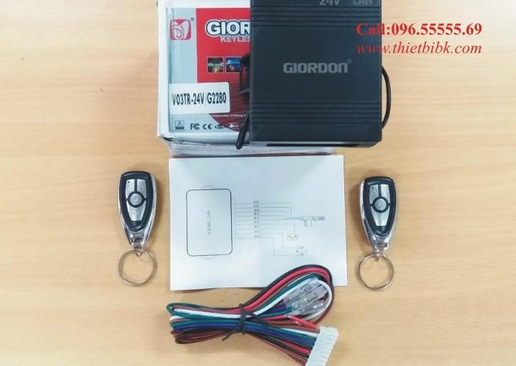 Bộ điều khiển khóa cửa ô tô Giordon 2280 24V 9 dây lắp cho xe tải